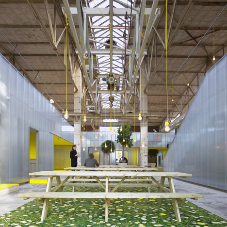 Imd engineering 39 s renovated warehouse office office for Interior decoration engineering