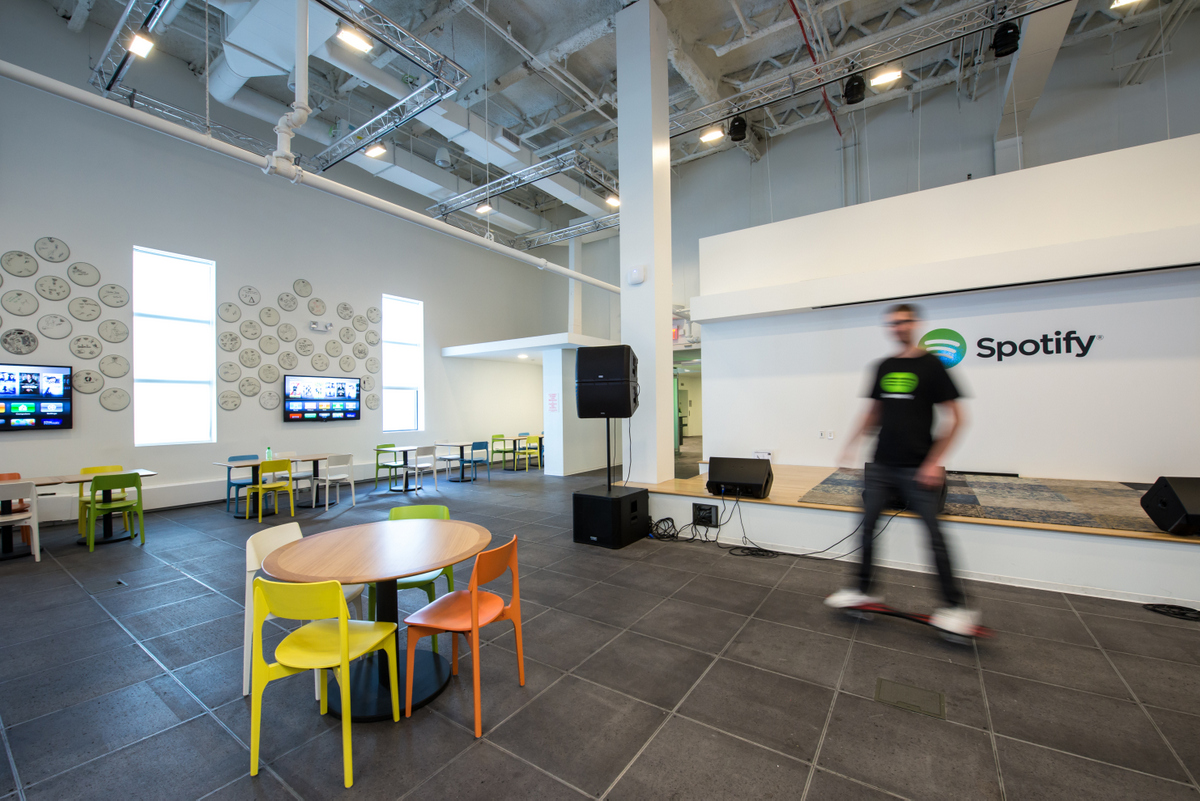 Inside Spotify S Colorful And Open Nyc Offices Office